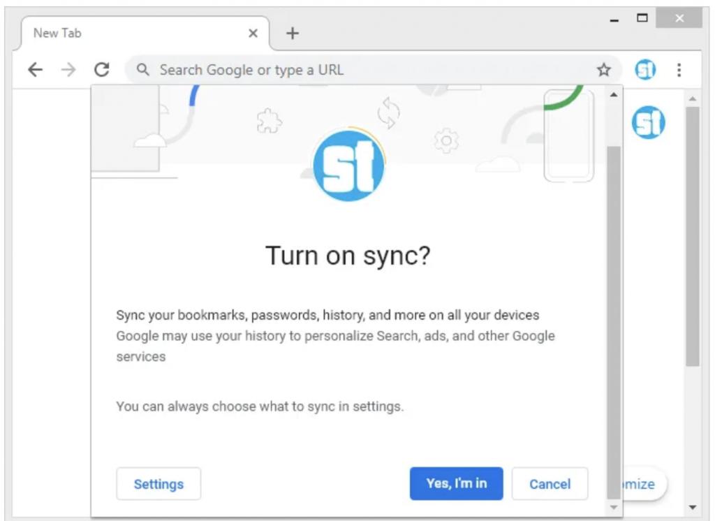 Sinkronisasi Chrome di Komputer
