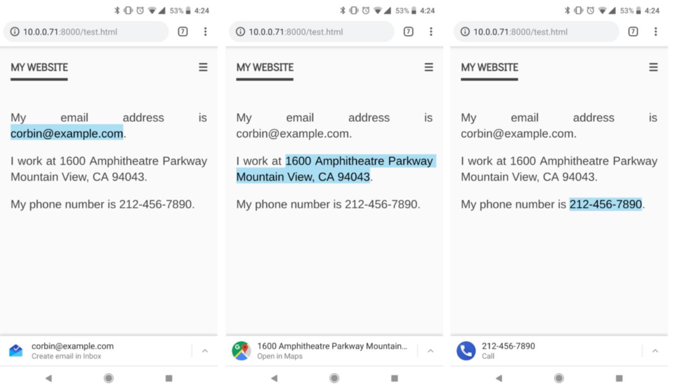 Ketuk email, nomor telepon, dan alamat untuk menggunakannya