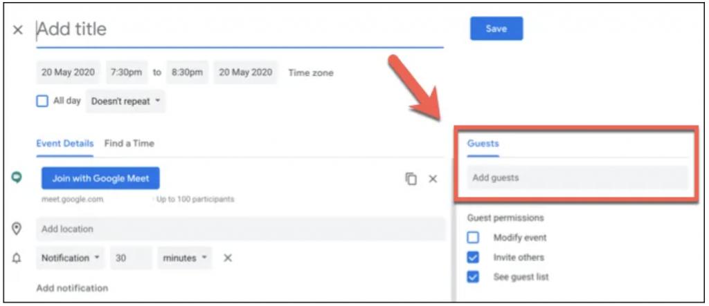 Add Guests Google Meet