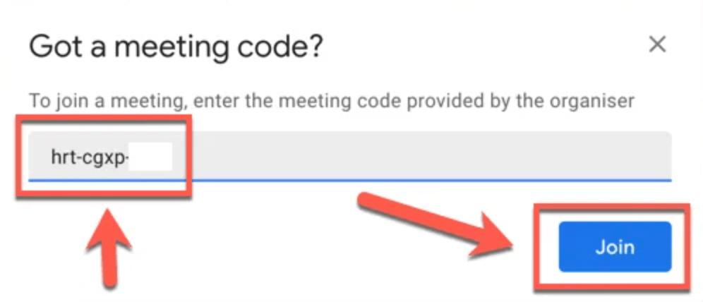 Gmail akan meminta Anda untuk 10 digit kode ID rapat
