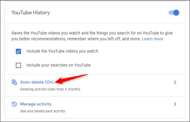 Riwayat pencarian di YouTube