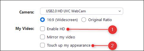 enable HD Zoom