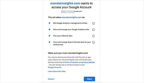 mengizinkan MonsterInsights mengakses akun Google Analytics