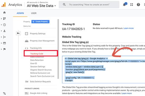 menyalin kode pelacakan Google Analytics