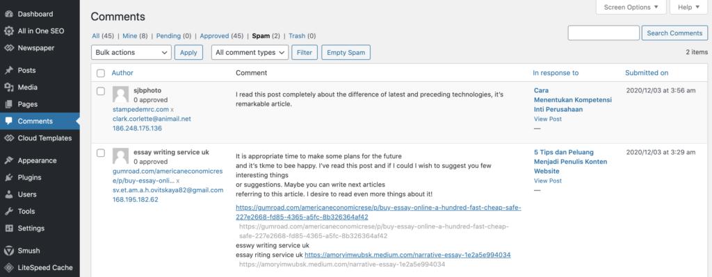 Cara Mencegah Komentar Spam Dan Mengamankan Situs WordPress