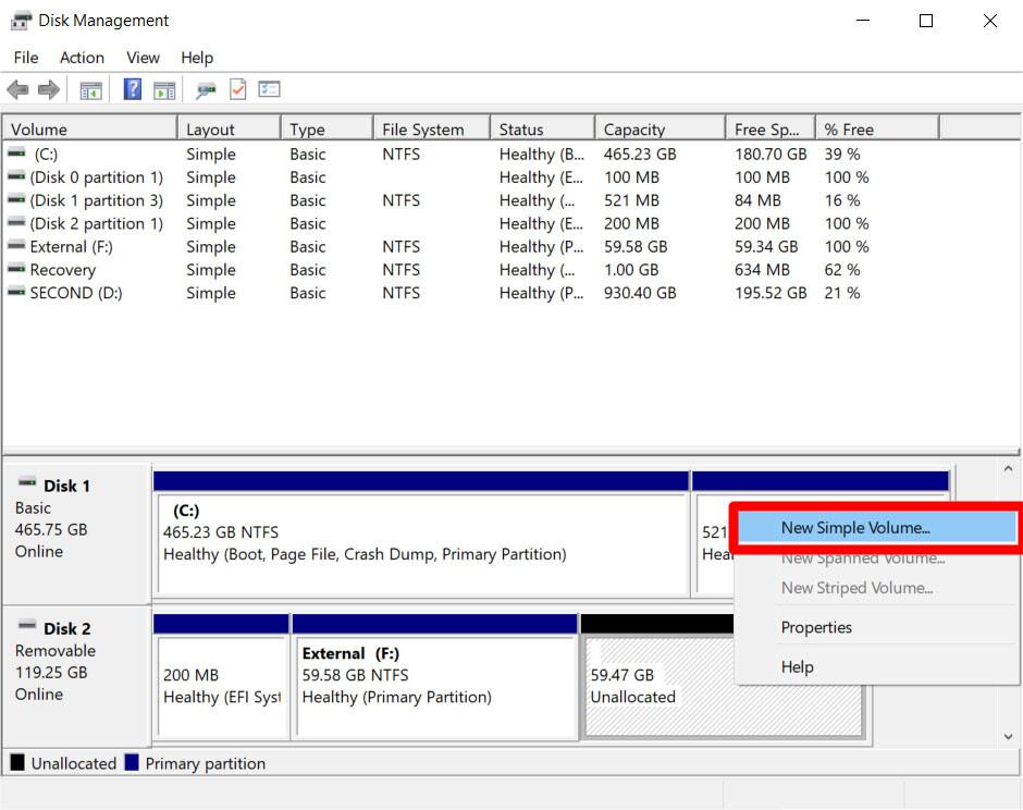 6. Cara Mempartisi Disk Eksternal di Windows 10