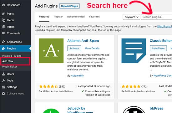 1. Cara Memasang Plugin di WordPress menggunakan Pencarian