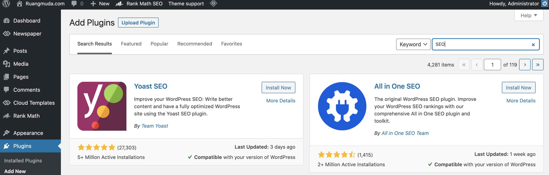 Cara Memasang Plugin di WordPress menggunakan Pencarian