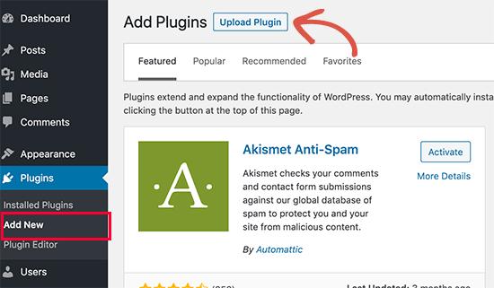 3. Cara Memasang Plugin di WordPress melalui menu Upload Plugin