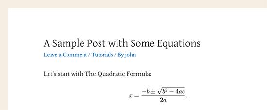 6. Cara Menulis Rumus Matematika di WordPress menggunakan LaTeX