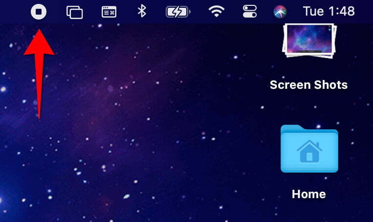 Langkah 8: Setelah selesai, navigasikan ke bilah menu dan klik tombol Stop Recording , seperti yang ditunjukkan di bawah ini. Atau, ketuk simbol yang sesuai jika Mac Anda memiliki Touch Bar.